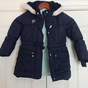 Navy puffer winter coat with teal inside